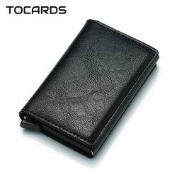 2018 New Business Credit Card Holder Men Multifunction Automatic Aluminium Alloy Leather Cards Case Men Mini Wallet Slim Purse