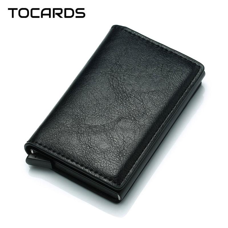 2019 RFID Business Credit Card Holder Men Multifunction Automatic Aluminium Alloy Leather Cards Case Men Mini Wallet Slim Purse