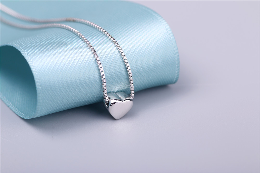 AAA 100% Silver 925 Necklace Shiny Heart Necklace Sterling Silver Necklaces & Pendants FREE SHIPPING Karachi