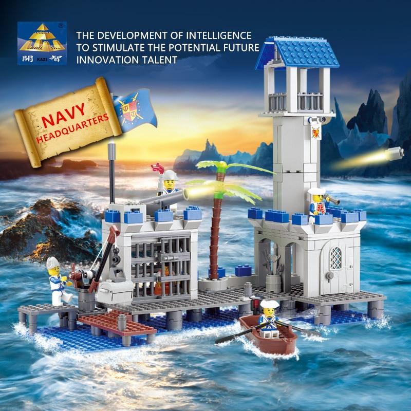 365Pcs Military Pirates Navy Headquaters Building Blocks Compatible LegoINGLs Bricks Ship Weapon Educational Toys for Children