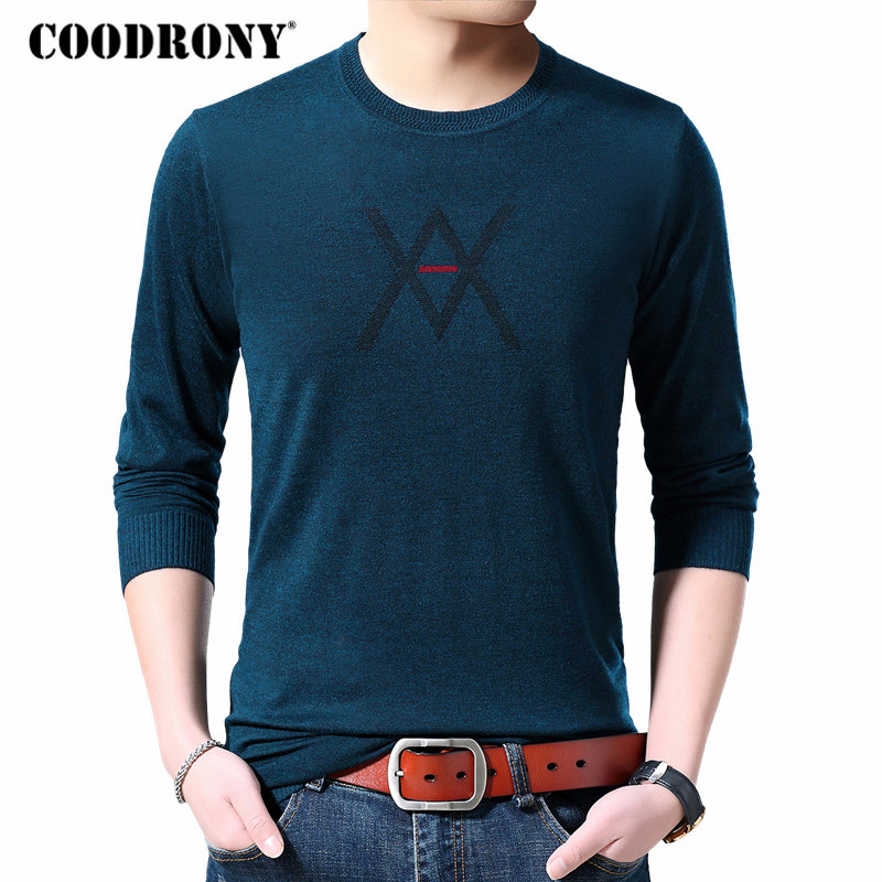 COODRONY Brand Sweater Men Autumn Winter Cashmere Wool Mens Sweaters Casual O-Neck Pullover Men Knitwear Shirt Pull Homme 91074