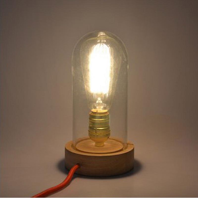 Арт деко стеклянная настольная лампа Спальня освещение E27 Edison Винтаж дуба Деревянные Настольные лампы ночной свет для дня рождения, рождест... - 2