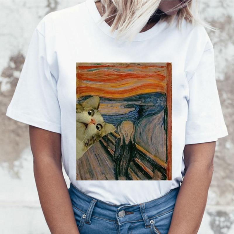 Kawaii chat drôle dessin animé T-shirt femmes Harajuku Ullzang mignon T-shirt 90 s mode coréen Style T-shirt belle impression Top T-shirt femme
