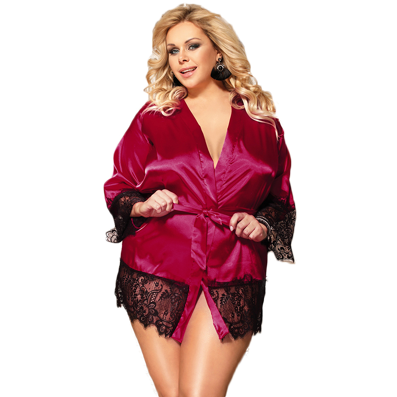 Kimono Für Frauen Langarm Satin Seide Roben Blau Schwarz Rot Plus Größe Spitze Robe Lingerie Solide Spitze Trim Dressing kleid R80558