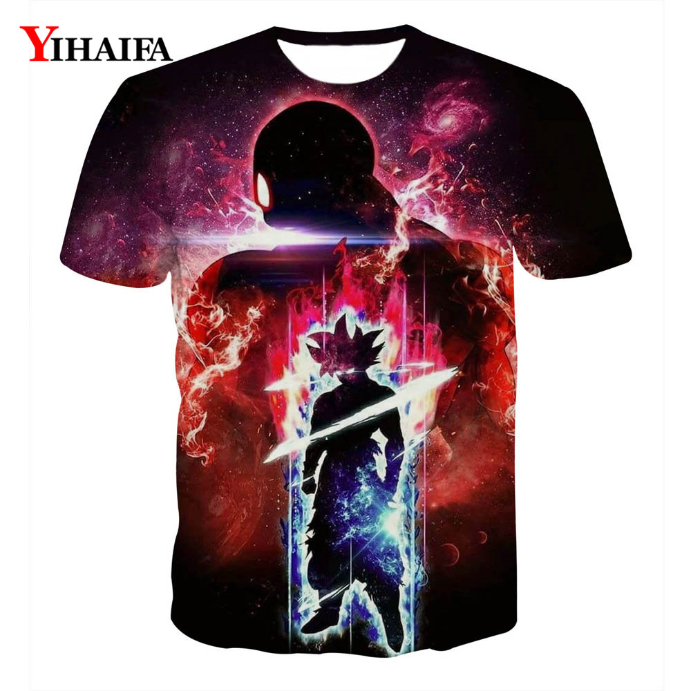 2019 Hipster Men Women T shirt 3D Print Galaxy Goku Saiyan Dragon Ball Z Creative Anime Tee Shirts Unisex Graphic Tees Tops(China)
