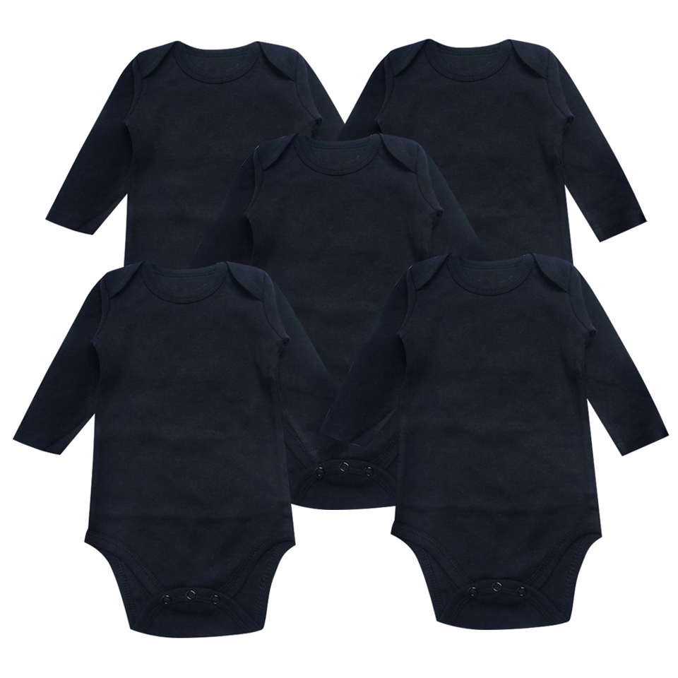 5PCS/Lot Baby Bodysuits Clothes Short Long Sleeve Solid color black and white Newborn Unisex Boys Girl Summer Infant Jumpsuit active long sleeve blue and white women s crossover playsuit