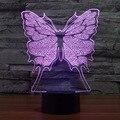 Творческие 7 Цветов Удивительные Оптические Иллюзии Бабочка LED Настольная Лампа Искусства Скульптуры Света Производят Уникальное Освещение 3D Визуализации