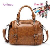 AMINOU Luxury Top Handle Bag Designer Oil Leather Tote Handbag High Quality Vintage Crossbody Bags For
