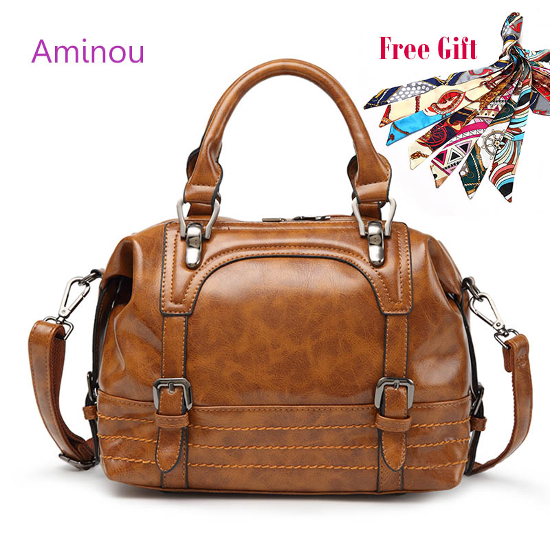 AMINOU Luxury Top Handle Bag Designer Oil Leather Tote Handbag High Quality Vintage Crossbody Bags For Women Bolsos Mujer famous brands vintage handbag high capacity tote shoulder crossbody bag genuine leather women top handle bags designer hand bag