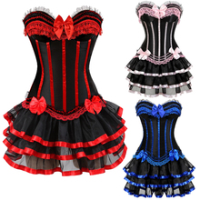 Women Burlesque Dancer Dress with Halloween costumes vintage striped floral lace up corset bustier Mini skirt Gothic Corset