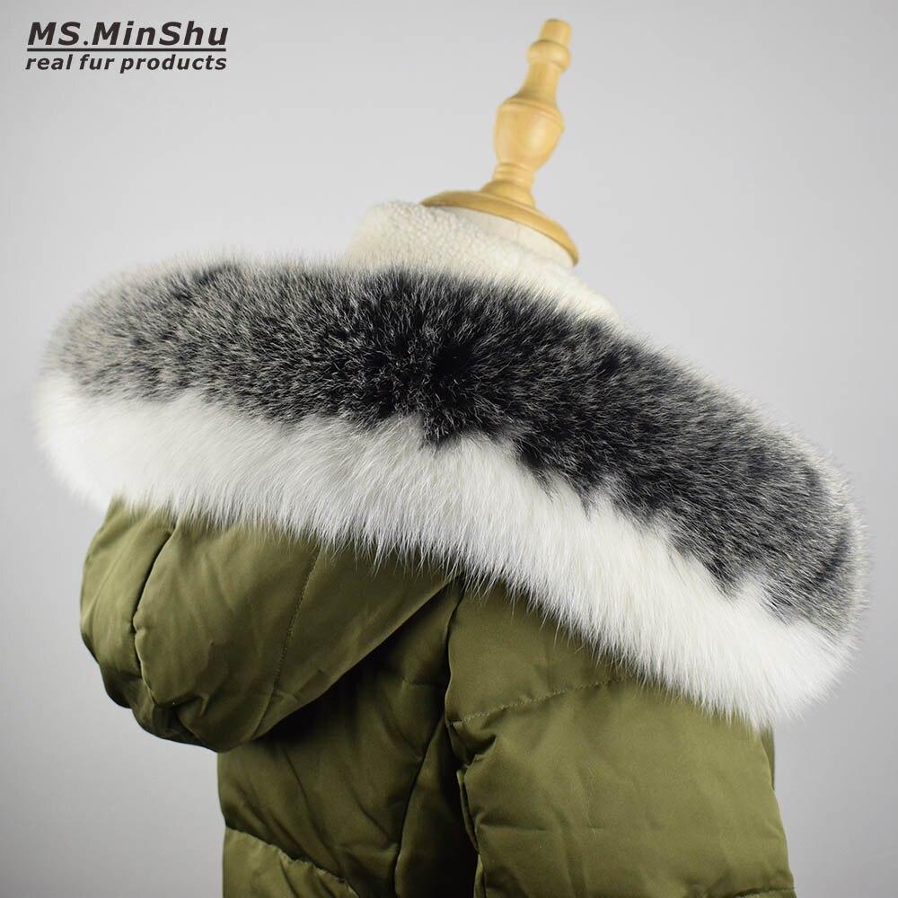 Gola de Pele para a Capa Gola de Pele Capuz de Pele de Raposa Cachecol de Inverno Minshu Natural Verdadeira Cachecol Custom Made Corte Ms. Fox 100%