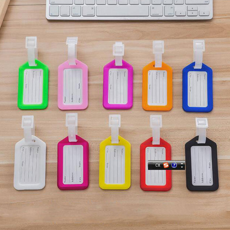 Candy colors Plastic Luggage Tag Travel Belt Tags Suitcase Card Cute luggage Tags for Women Men