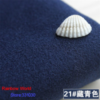 21 Deep Blue 1 Meter One Side Brushed Imitation Woolen Garment Fabric For DIY Colthes Overcoat