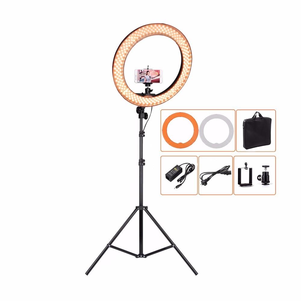 ES240 240 LED 18 Stepless Adjustable Ring Light Camera Photo/Video 240pcs LED 5500K Dimmable+ 2 Color Filter+ standES240 240 LED 18 Stepless Adjustable Ring Light Camera Photo/Video 240pcs LED 5500K Dimmable+ 2 Color Filter+ stand
