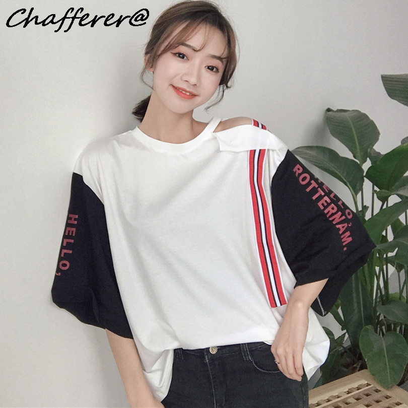 Chafferer Print Hole Letter Hollow Out T shirt Women Tie Patchwork Korean Tshirt Students Patches Flare Sleeve Off Shoulder tops