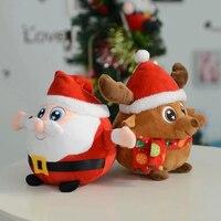 Muñeca de regalo de navidad colorido brillante Jingle bell cantar Santa Claus de Navidad Elk ciervos Encantadores Niños de regalo de Navidad de Luz