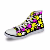 Noisydesigns ladies vintage high top sneakers girls casual vulcanized Women bight color 3D funny skull print flat canvas shoes