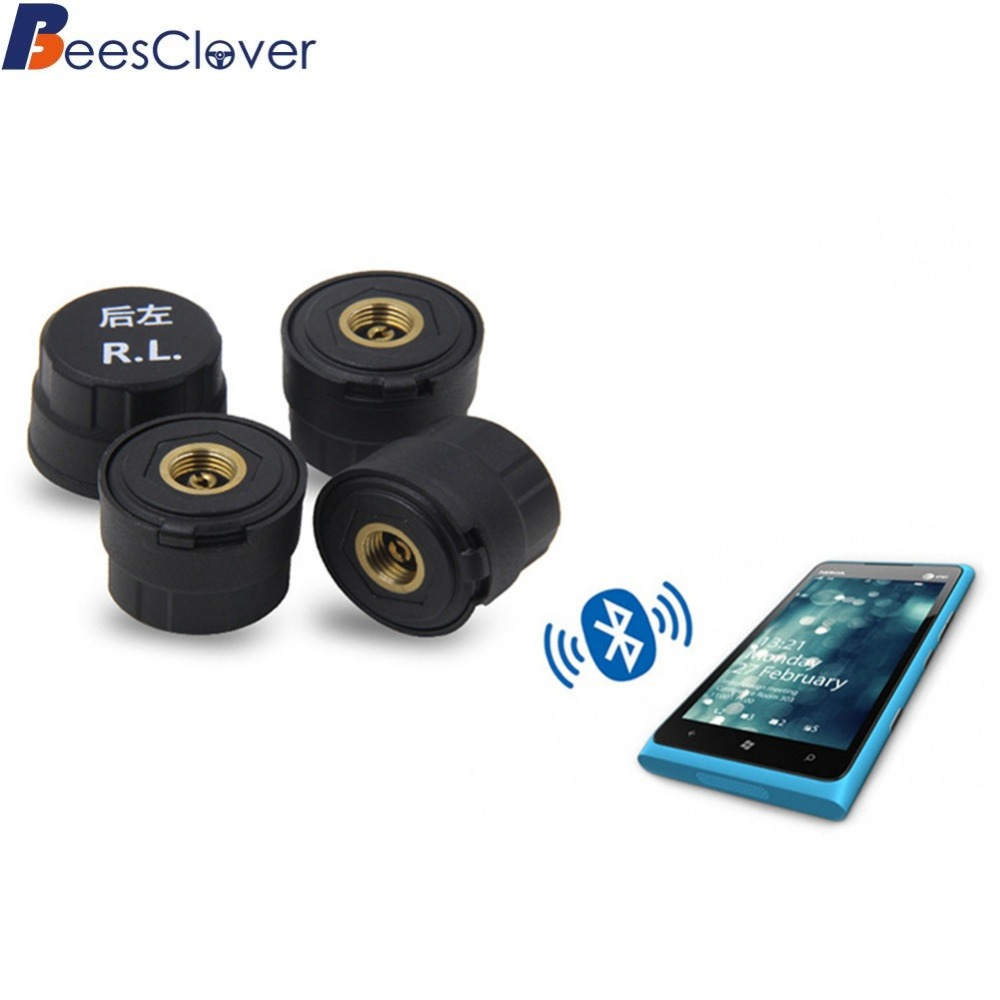 BEESCLOVER Car Bluetooth 4.0 TPMS Android IOS Tire Pressure Monitor System 4 External Sensors Mobile phone APP display r20