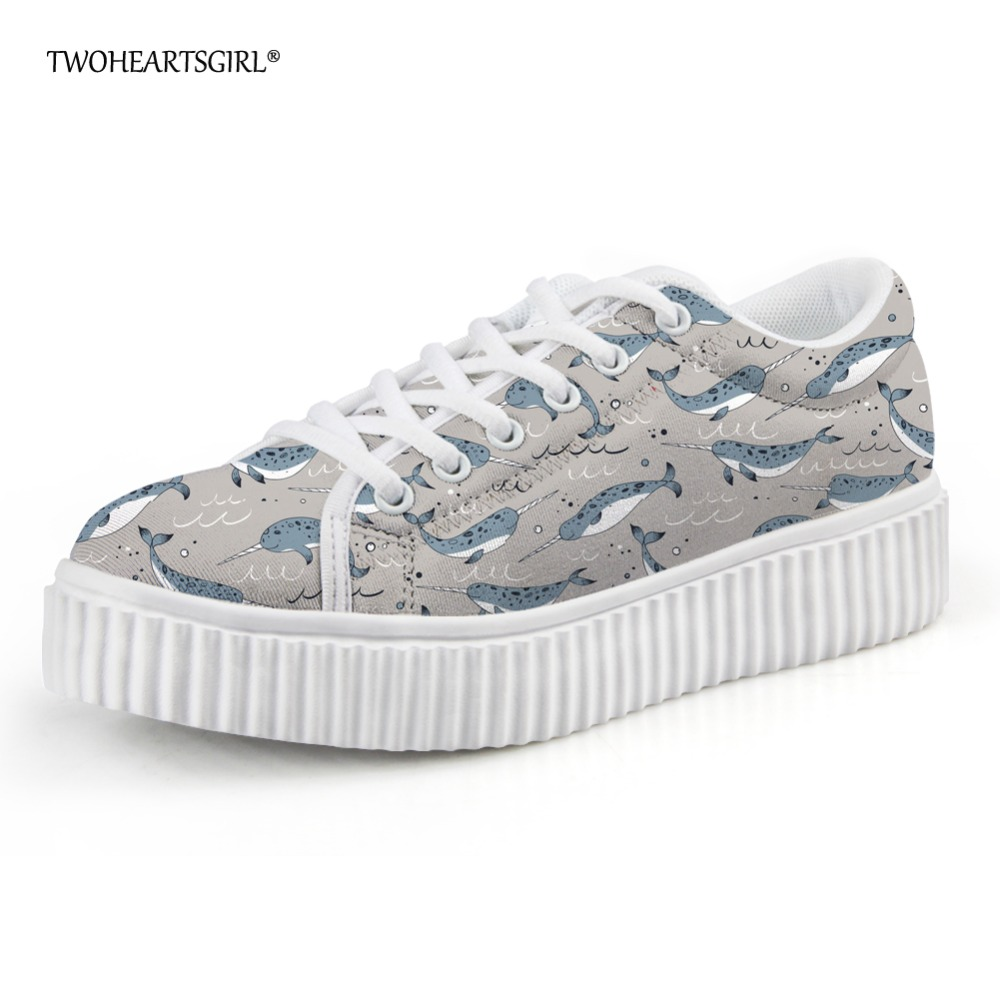 Twoheartsgirl Printing Narwhal Flat High Quality Flat Platform Shoes for Women Brand Leisure Female Round Toe Creepers Plus