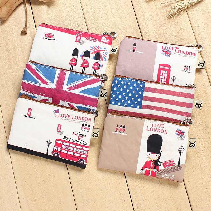 2017 Top Quality Creative Cute Cartoon Coin Purse Girl Canvas Zipper Change Wallet England Card Holder  In Stock in stock 6a top quality 1b 3 5x4 100