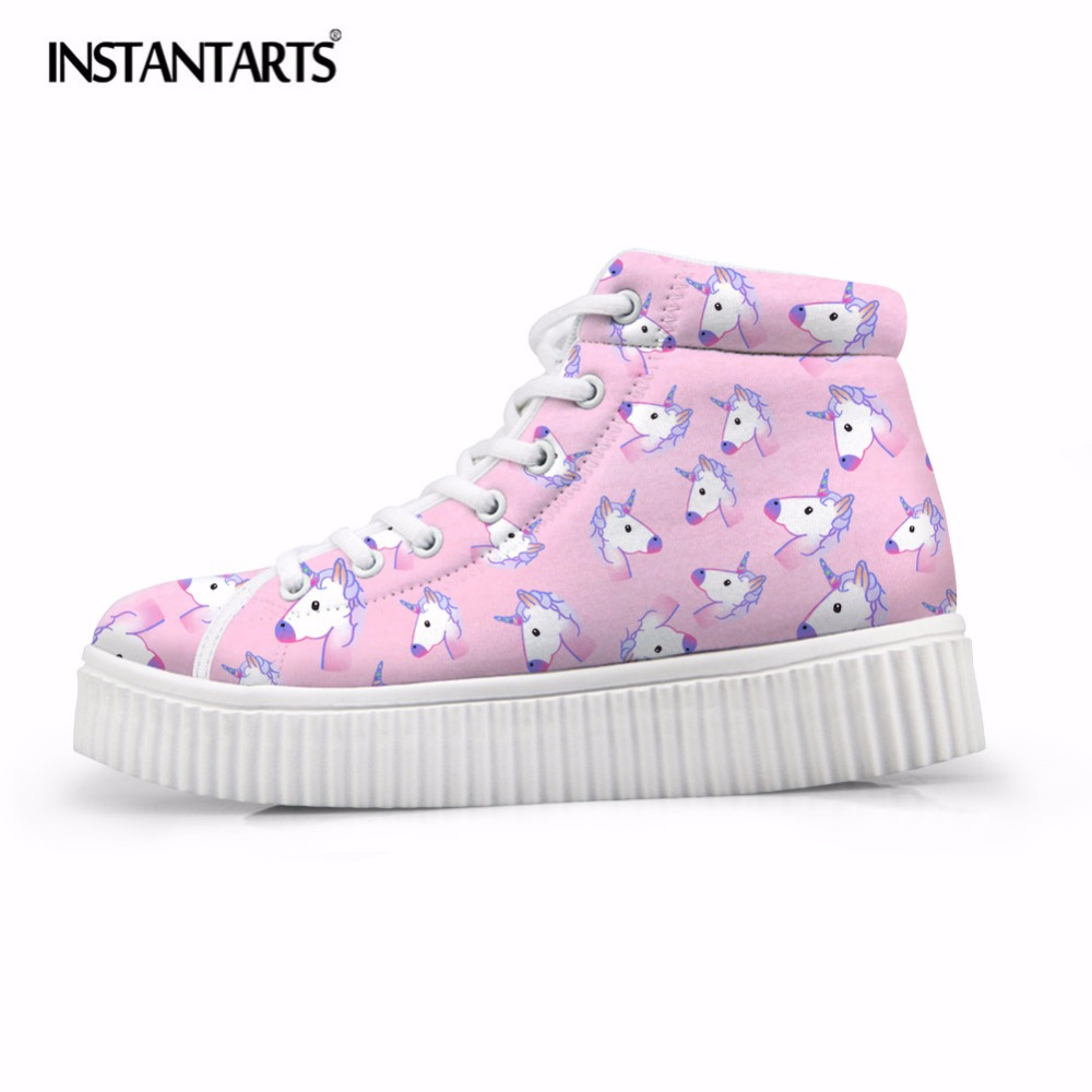 INSTANTARTS Fashion Horse Women Cute Casual Shoes Brand Design High Top Platform Female Shoes Flats Lace-up Breathable Boots