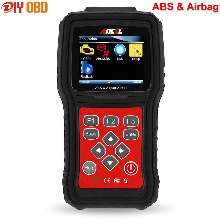 Цена за Новый ABS SRS Подушка Безопасности Подушка Безопасности Сброс Данных Краш Автомобильных Сканер Ансель AD610 Автомобилей Диагностический Инструмент Бесплатное Обновление Онлайн
