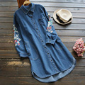 Primavera Mujeres Cowboy Hombro Floral Bordado Turn Down Collar Estilo Kawaii Lindo Larga de Mezclilla Camisa Femenina Blusa Mori Chica U670
