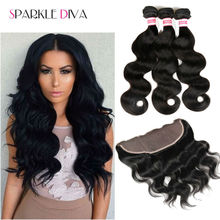 8A Brazilian Virgin Hair With Closure Body Wave 13×4 Full Lace Frontal Closure With Bundles Ms lula Hair With Frontal And Bundle