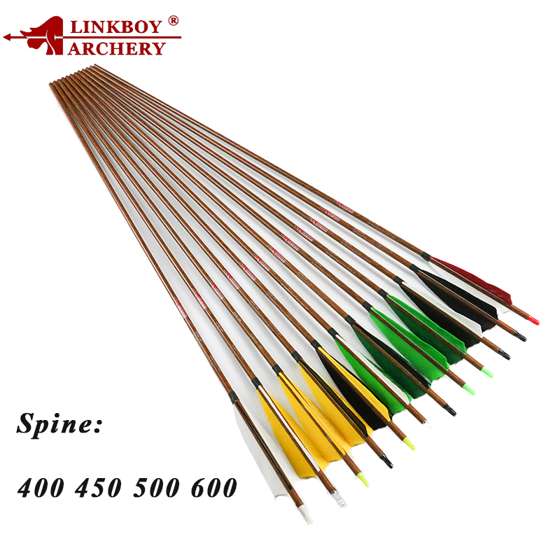 Linkboy 12pcs Archery Carbon Arrows Wood Skin 32 SP600 5 inch Turkey Feather Recurve Traditional Bow