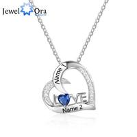 Hot Personalized 925 Sterling Silver Birthstone Necklace Pendants DIy Mom Girlfriend Birthday Christmas Gift JewelOra NE101872