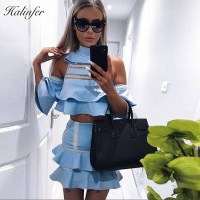 Halinfer 2018 New summer women dress sexy bodycon turtleneck beading two piece dress evening party blue ruffles dresses vestidos