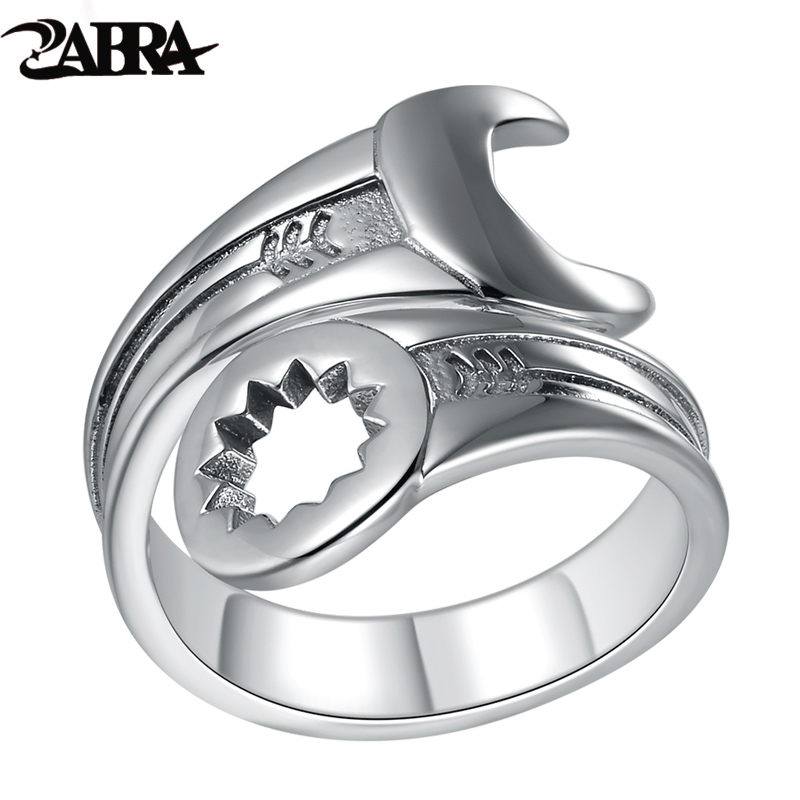 ZABRA Genuine Pure 925 Sterling Silver Cool Wrench Ring Men Adjustable Retro Love Vintage Punk Rings Women Biker Silver Jewelry-in Rings from Jewelry & Accessories