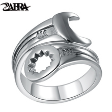 ZABRA Genuine Pure 925 Sterling Silver Cool Wrench Ring Men Adjustable Retro Love Vintage Punk Rings Women Biker Silver Jewelry