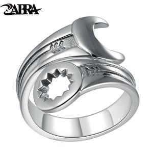 Image 1 - ZABRA Genuine Pure 925 Sterling Silver Cool Wrench Ring Men Adjustable Retro Love Vintage Punk Rings Women Biker Silver Jewelry