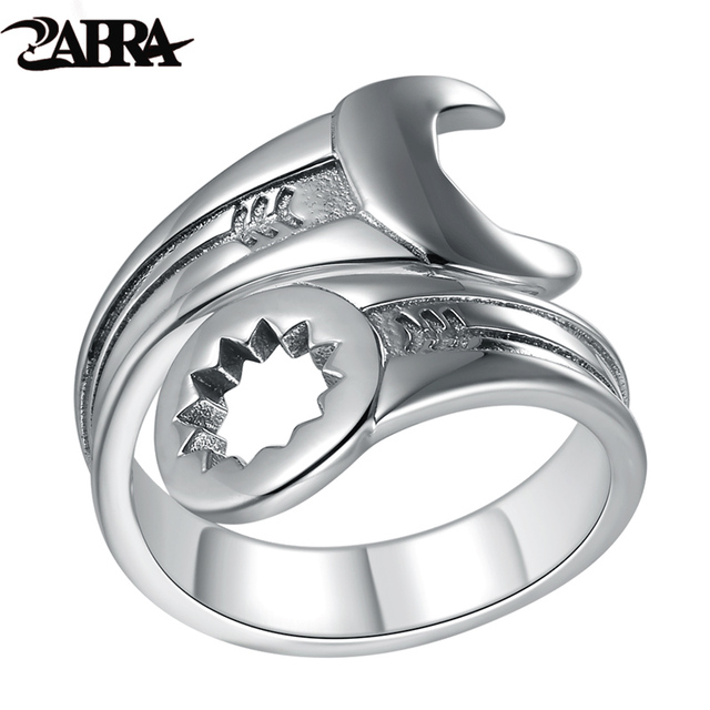 ZABRA Genuine Pure 925 Sterling Silver Cool Wrench Ring Men