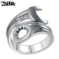 ZABRA Genuine Pure 925 Sterling Silver Cool Wrench Ring Men Adjustable Retro Love Vintage Punk Rings Women Biker Silver Jewelry
