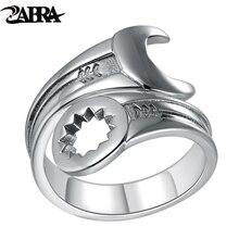 Zabra genuine pure 925 prata esterlina legal wrench ring men ajustável retro amor do vintage punk anéis biker feminino jóias de prata