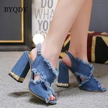 BYQDY New 2019 Gladiator Blue Denim Buckle Strap Woman Sandals Heels Pumps Open Peep Toe Thick Heel Sandals Women Footwear недорого