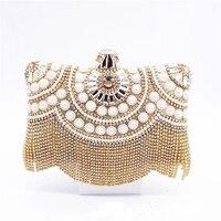 Lady Diamond Pearl Tassel Pillow Bag Fashion Women Evening Clutch Crystal Female Bag Bridal Wedding Handbag Purse