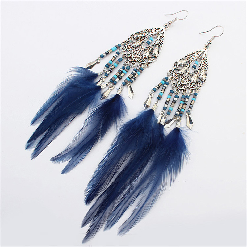 vintage Jewelery Bohemia Long Tassel hollow Earings Feather beads drop Earrings For Women Dangle Earring Personality gift