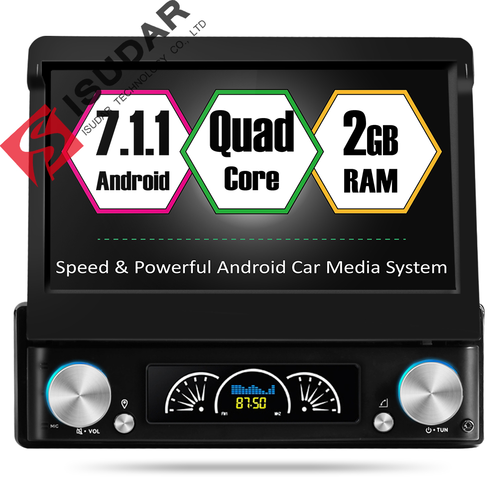 Isudar Universal Car Multimedia player 1 din android 7 1 1 7 Inch Detachable Multi touch