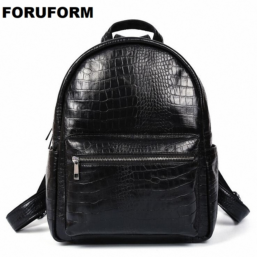 100% Genuine Leather Vintage Crocodile Backpack Men School Male Day Bag Fashion Leisure 2018 Men's Travel Bags Backpacks LI-1362 marrant genuine leather backpacks men shoulder bag men bag leather laptop bag 15 inch men s luggage travel bags school backpack