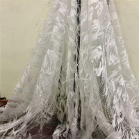 Excellent quality Nigerian 3D flowers lace fabric with feathers Fashionable Tulle lace fabric for beautiful dress A771 1