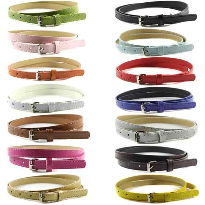 2017 mujeres Faux cinturones de cuero delgada Skinny cinturón ajustable  correa del Color del caramelo 6fb78b94f4c2