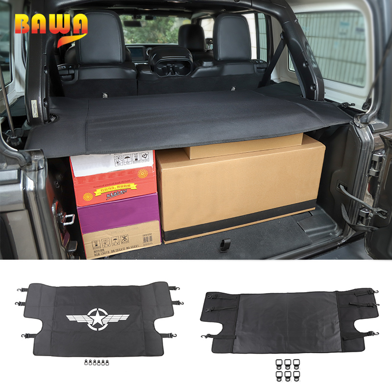 BAWA BAWA Stowing Tidying Trunk Net for Jeep Wrangler JL 2018 Luggage Carrier Curtain Car Trunk
