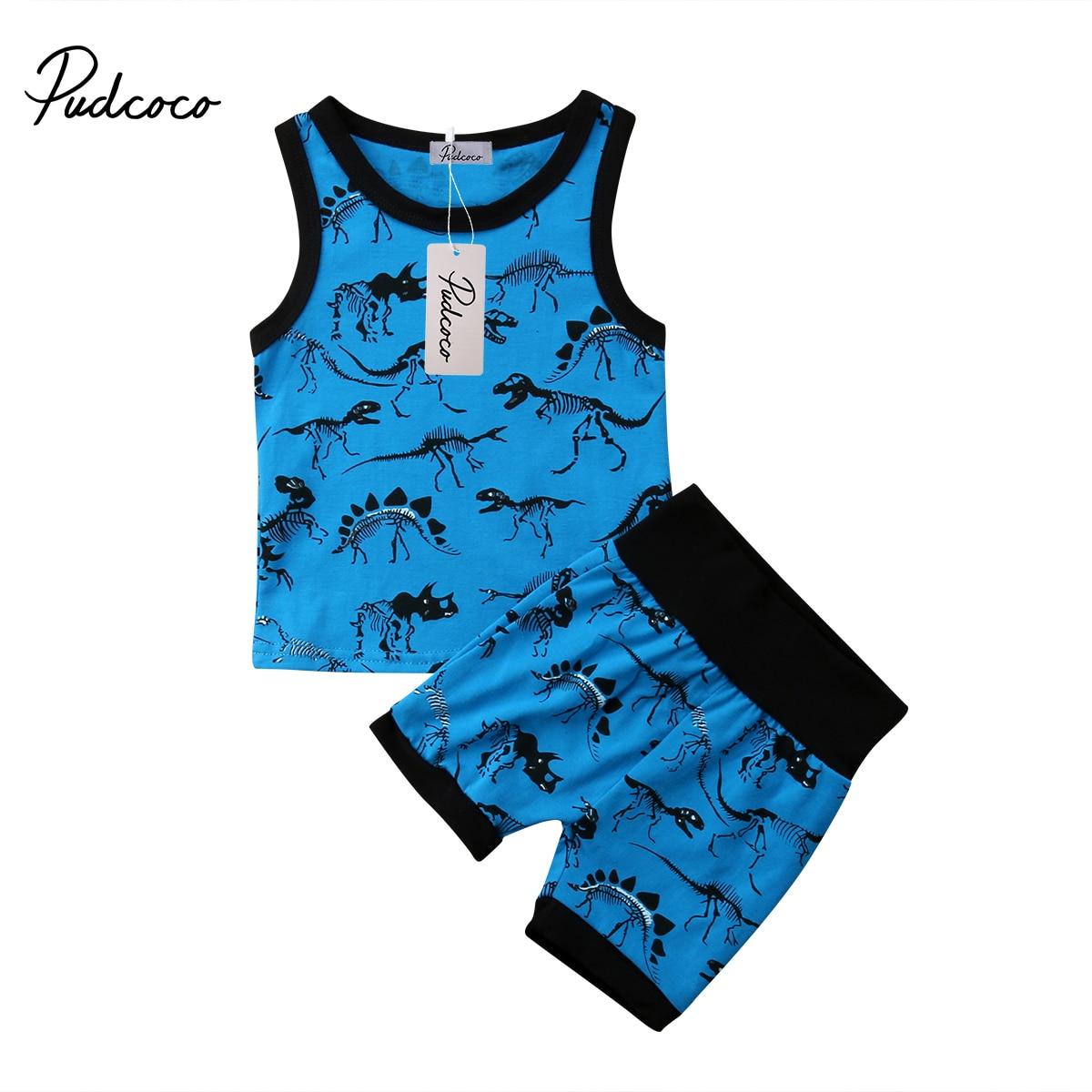 2Pcs Toddler Baby Boy Clothes Kid Cotton Cartoon Dinosaur Vest Top+Short Pants Outfit Summer Children Clothing Set  0-24M