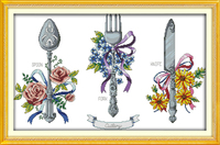 Tableware Patterns Printed Home And Kitchen Decoration Embroidery Floss Cross Stitch Fabric Chinese Cross Stitch Kits