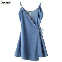 ROMWE Casual Dress Womens Clothing Sleeveless Spaghetti Strap A Line Denim Dress Blue Wrap Cami Dress With Tie Detail