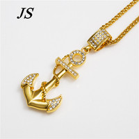 JS Punk Rock Real 24K Gold Solid Plated Nautical Sailor Anchor Necklace Men Curb Cuban Chain Male Rap Jewelry HN022