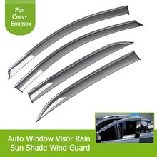 4pcs Smoke Black Window Visor Ran Sun Deflector Shelter Rain Guard Vent Shade for for Chevrolet Equinox 2017